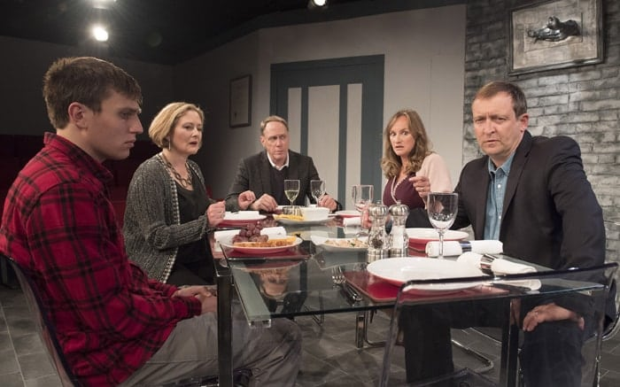 David Leopold (Curtis), Lucy Robinson (Debora), Todd Boyce (Michael), Lisa Stephenson (Tamara) and Alex Lowe (Bill) in Late Company - credit Alastair Muir
