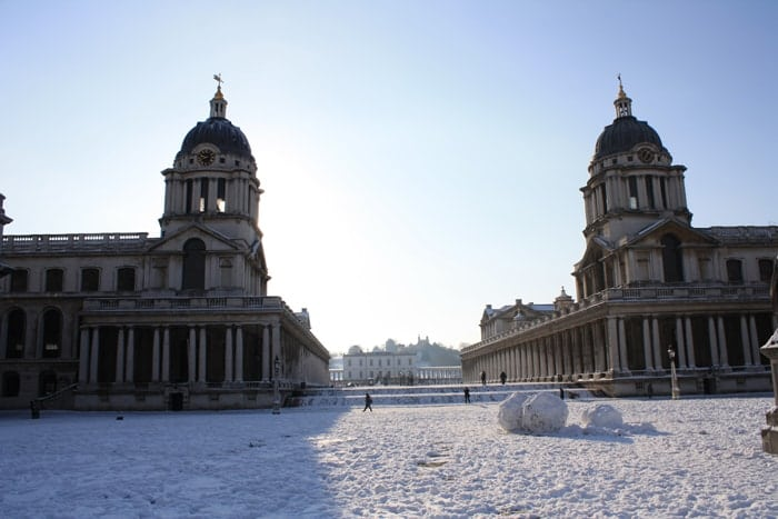 Old Royal Naval College snowy grand square