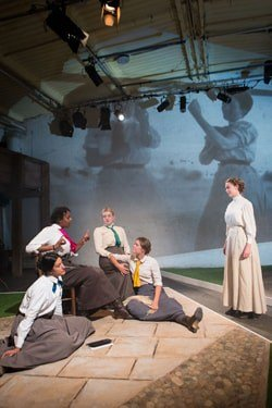 The cast of the National Youth Theatre production of Blue Stockings at the Yard Theatre CREDIT Helen Murray