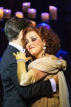 SUNSET BOULEVARD. Danny Mac 'Joe Gillis' and Ria Jones 'Norma Desmond'. Photo Manuel Harlan