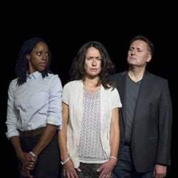 Natasha Bain, Susannah Doyle & Gary Webster (l-r) in The Secondary Victim at Park Theatre. Photo by Matthew House