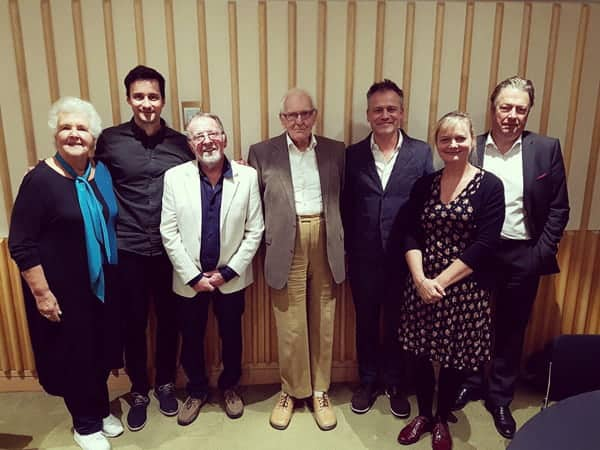 LtoR Stephanie Cole, Sam Swainsbury, Denis King, Peter Nichols, Michael Grandage, Sarah Woodward and Roger Allum.