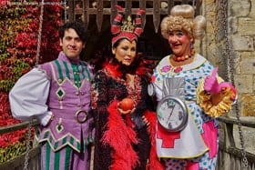 Pete Firman as Muddles, Jessie Wallace as the Wicked Queen, Jason Sutton as Nurse Nancy. Photo by Bonnie Britain.