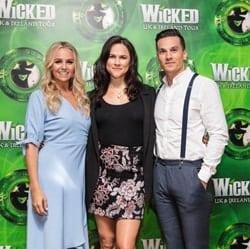 Helen Woolf (Glinda), Amy Ross (Elphaba) and Aaron Sidwell (Fiyero). Photo Credit Darren Bell