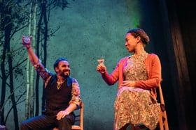 Ameet Chana as Sultan and Amelia Donkor as Joyce - credit Mihaela Bodlovic