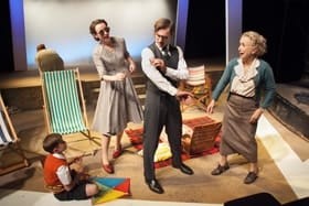 "Alix Dunmore as Frances Farrar, John Sackville as Julian Anson and Susan Tracy as Laura Anson in ""A Day By The Sea"" by NC Hunter"