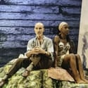 Finbar Lynch (Dr Wangel) and Nikki Amuka-Bird (Ellida) The Lady from the Sea at the Donmar Warehouse directed by Kwame Kwei-Armah designed by Tom Scutt. Image Manuel Harlan
