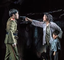 MISS SAIGON. Gerald Santos 'Thuy' and Sooha Kim 'Kim'. Photo Johan Persson