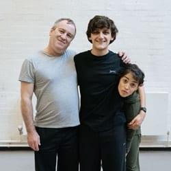 Mark Hadfield, Joe Idris-Roberts, Audrey Brisson Pinocchio rehearsals. Photo Manuel Harlan