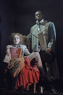 Rosella Doda and Marc Benga in the NYT's Jekyll and Hyde - Ambassadors Theatre - CREDIT Nobby Clark
