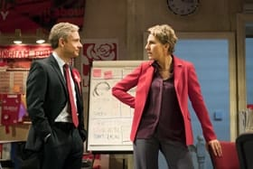 Martin Freeman (David Lyons), Tamsin Greig (Jean Whittaker). Photo by Johan Persson