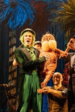 Simon Paisley Day (The Once-ler) and The Lorax - Laura Caldow, Ben Thompson and David Ricardo-Pearce (Puppeteers) in Dr. Seuss's The Lorax at The Old Vic