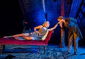 Natalie Dormer and David Oakes in Venus in Fur at Theatre Royal Haymarket. Credit Tristram Kenton