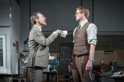 L-R Christian Slater (RIcky Roma) & Kris Marshall (John Williamson) - Glengarry Glen Ross at The Playhouse (c) Marc Brenner