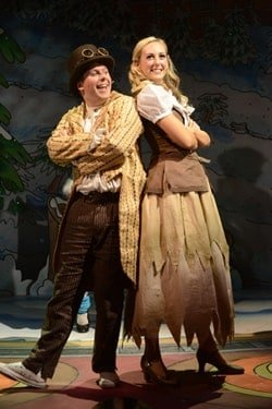 James Keningale and Louise Young in Cinderella, Greenwich Theatre, photo Robert Day