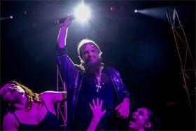 Jake Byrom as Rasputin with Robyn Hampton and Jessica Townsley. Photo by Zac Cooke.