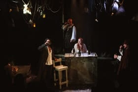 L to R: Matthew Wade (Cobbler), Toby Wynn- Davies (Joss Merlyn), Kimberley Jarvis (Mary Yellan), Mark Moore (Harry the Pedlar), Photograph by Panayis Chrysovergis.