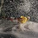 Yellow clown in snowstorm - Photo credit V Mishukov