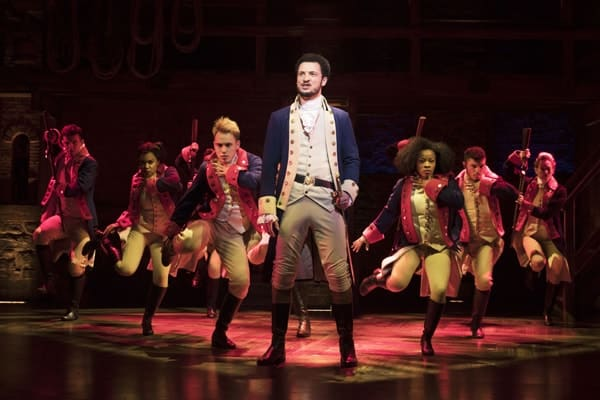 Centre Jamael Westman (Alexander Hamilton) with West End cast of Hamilton - Photo credit Matthew Murphy