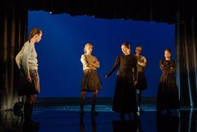 Cast of The Divide at The Old Vic. Photos by Manuel Harlan