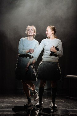 Sophie Melville (Sassa) and Erin Doherty (Soween) in The Divide at The Old Vic. Photos by Manuel Harlan