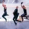 Todd Talbot, Sarah Soetaert, Francis Foreman in rehearsals for CHICAGO. Credit Tristram Kenton