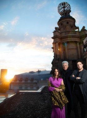 Cast of Notre Dame de Paris on the London Coliseum Roof. (L-R) Hiba Tawaji (Esmerelda), Daniel Lavoie (Frollo) and Angelo Del Vecchio (Quasimodo). Photo Credit - Piers Foley.