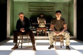 Not Talking at the Arcola Theatre. David Horovitch (James) Laurence Walker (Mark) Photo by Lidia Crisafulli