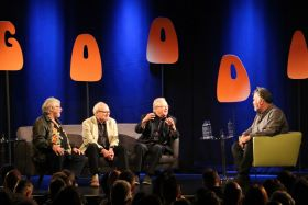 Bill Oddie, Graeme Garden and Tim Brooke-Taylor and questioner Stewart Lee