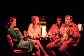 Machinal at the Almeida. Kirsty Rider, Emily Berrington, Dwane Walcott and Alan Morrissey. Photo credit Johan Persson.