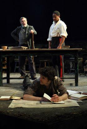 Ciarán Hinds (Hugh), Colin Morgan (Owen), Adetomiwa Edun (Lieutenant Yolland). Image by Catherine Ashmore
