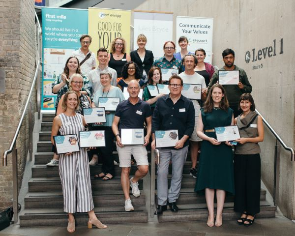 Matthew Bourne with the winners of the 2018 Julie's Bicycle Awards. New Adventures won the Creative Green Pioneer Award. Photo by James Allan.