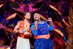 Trevor Dion Nicholas (Genie) & Matthew Croke (Aladdin) photo by Deen Van Meer (c) Disney