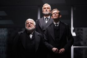 Simon Russell Beale, Ben Miles and Adam Godley in The Lehman Trilogy at the National Theatre. Photo by Mark Douet.