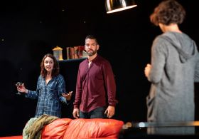 Vicky Jones The One, Soho Theatre. Julia Sandiford, Tuppence Middleton & John Hopkins. Credit Helen Maybanks