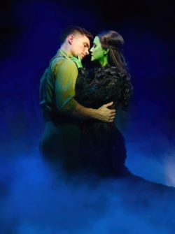 David Witts (Fiyero) and Alice Fearn (Elphaba) in Wicked at The Apollo Victoria Theatre Photo Darren Bell