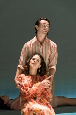David Dawson (Casimir) and Elaine Cassidy (Alice) in Aristocrats at the Donmar Warehouse. Directed by Lyndsey Turner, designed by Es Devlin. Photo Johan Persson