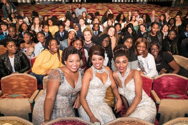 The Dreamgirls that met with the schools include from left to right; Marisha Wallace as Effie White, Brennyn Lark as Deena Jones and Asmeret Ghebremichael as Lorrrell Robinson.
