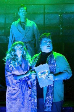 Eugenius Emily Tierney as Carrie, Scott Paige as Theo and Simon Thomas as Gerhard - Photo Scott Rylander