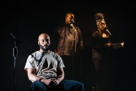 Arinze Kené , Adrian McLeod and Shiloh Coke in Misty by Arinze Kené at the Bush Theatre - Credit Helen Murray