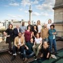 Come From Away West End cast on the roof of Canada House - Credit Helen Maybanks