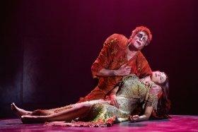 Quasimodo (Angelo Del Vecchio) and Esmeralda (Hiba Tawaji). Photo - Alessandro Dobici