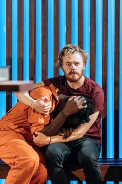 Sule Rimi (Claudio) and Jack Lowden (Angelo) in Measure for Measure at the Donmar Warehouse directed by Josie Rourke, designed by Peter McKintosh. Photo Manuel Harlan