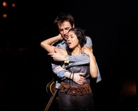 Reeve Carney (Orpheus) and Eva Noblezada (Eurydice) in Hadestown at National Theatre (c) Helen Maybanks