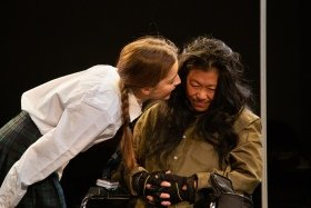 (L-R) Flora Spencer-Longhurst (Simona) and Lucy Sheen (Ye) in A Pupil - Park Theatre. Photography by Meurig Marshall
