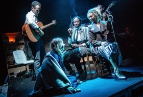 Bronté Barbé (The Little Match Girl), Declan Bennett (Brendan), Danielle Kassaraté (Narrator) and Kate Robson-Stuart (Ensemble) (c) Tom Grace.
