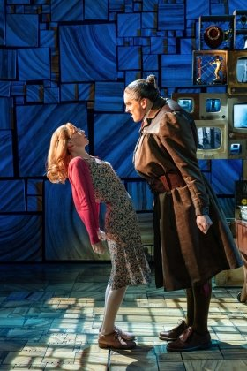 Carly Thoms as Miss Honey and Elliot Harper as Miss Trunchbull in the Royal Shakespeare Companys Matilda The Musical.