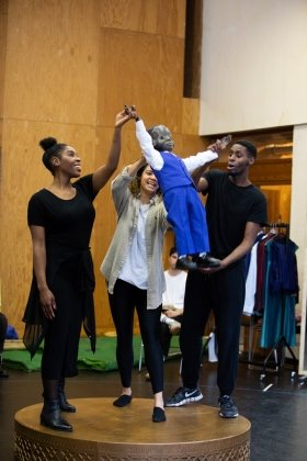 Cast in The Winter's Tale rehearsals at the National Theatre.