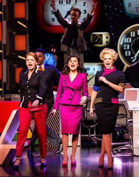 9 TO 5 THE MUSICAL. Caroline Sheen 'Violet Newstead', Amber Davies 'Judy Bernly' and Natalie McQueen 'Doralee Rhodes'. Photo Pamela Raith.