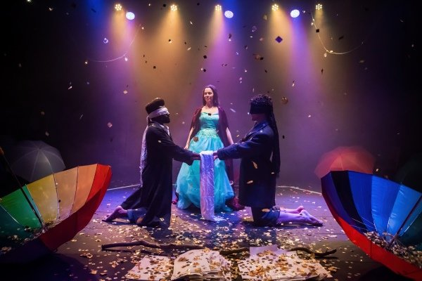 Micha Colombo as Prospero, Aaron Peters as Ferdinand and Alexander da Fonseca as Miranda. Photo by Adam Trigg.